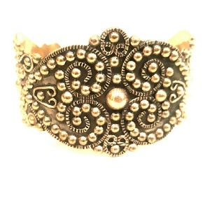 Vintage Mexican sterling ornate cuff bracelet